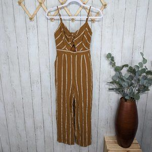ASTR The Label Brown Striped Jumpsuit
